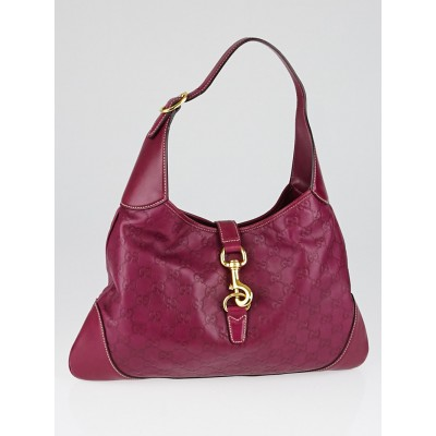 Gucci Magenta Guccissima Leather Jackie O Hobo Bag