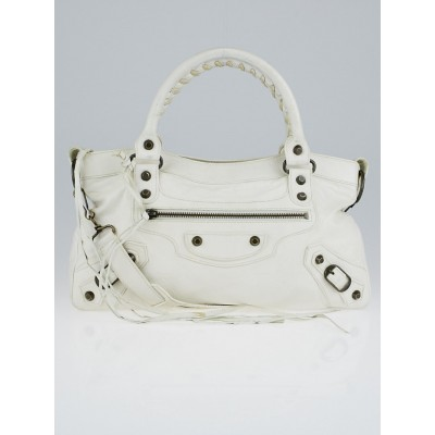 Balenciaga White Leather Motorcycle First Bag