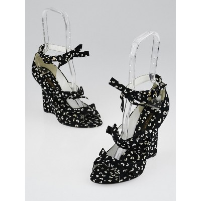 Louis Vuitton Black Floral Print Canvas Bow Wedges Size 6.5/37