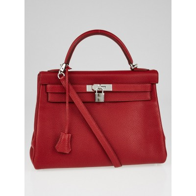 Hermes 32cm Rouge Garance Clemence Leather Palladium Plated Kelly Retourne Bag