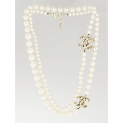 Chanel Glass Pearl and Double Large CC Long Necklace