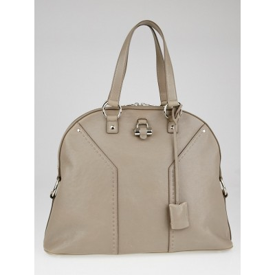 Yves Saint Laurent Grey Pebbled Calfskin Leather Oversized Muse Bag
