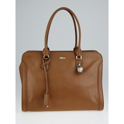 Alexander McQueen Cognac Calfskin Leather Medium Padlock Zip Tote Bag