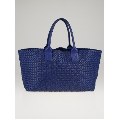 Bottega Veneta Cobalt Intrecciato Woven Nappa Leather Medium Cabat Tote Bag