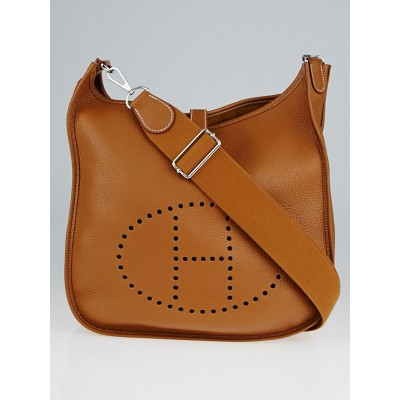 Hermes Gold Clemence Leather Evelyne III GM Bag