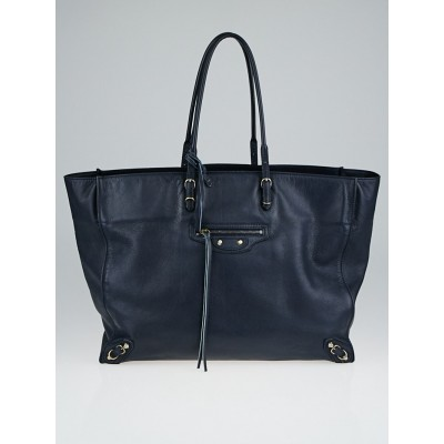 Balenciaga Navy Blue Calfskin Leather Papier A4 Tote Bag