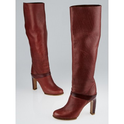 Chloe Brown Leather Knee-High Boots Size 7/37.5