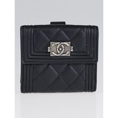 Chanel Black Leather S-Double Compact Boy Wallet
