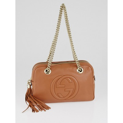 Gucci Brown Pebbled Leather Soho Disco Chain Shoulder Bag