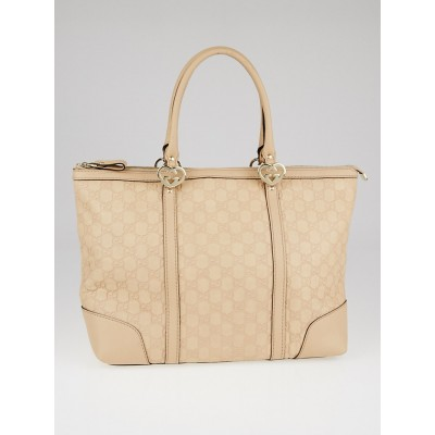 Gucci Light Pink Guccissima Leather Lovely Heart Interlocking G Tote Bag