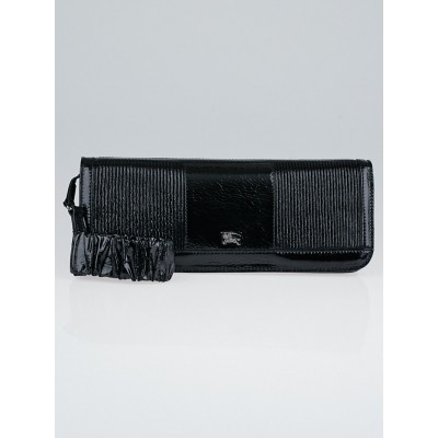 Burberry Black Embossed Patent Leather Wristlet Clutch Bag