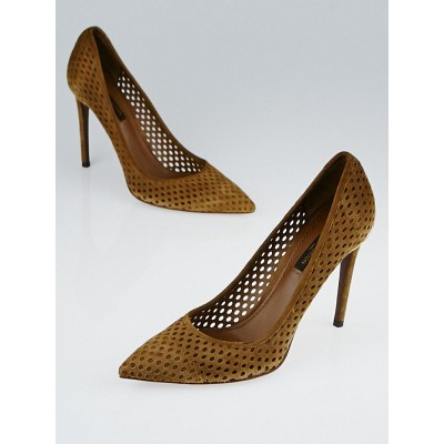 Louis Vuitton Brown Perforated Suede Eyeline Pumps Size 7.5/38