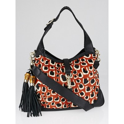 Gucci Black/Brown Leopard Print Pony Hair and Leather New Jackie Bag