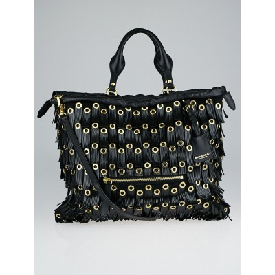 Burberry Black Leather and Calf Hair Grommet Fringe Big Crush Tote Bag