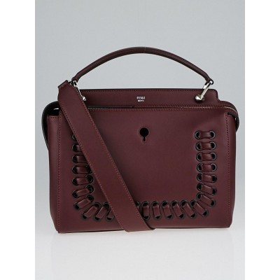 Fendi Bordeaux Calfskin Leather Stitched Dot Com Satchel Bag 8BN293