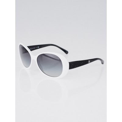 Chanel White Acetate Frame CC Oval Sunglasses-5165