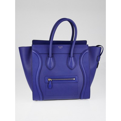 Celine Indigo Drummed Calfskin Leather Mini Luggage Tote Bag