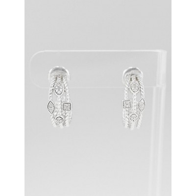 David Yurman Sterling Silver and Pave Diamonds Three-Row Earrings