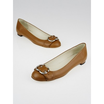 Gucci Brown Leather GG Buckle Ballet Flats Size 6/36.5