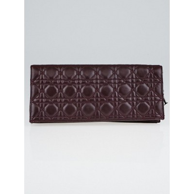 Christian Dior Bordeaux Quilted Cannage Lambskin Leather Foldover Clutch Bag