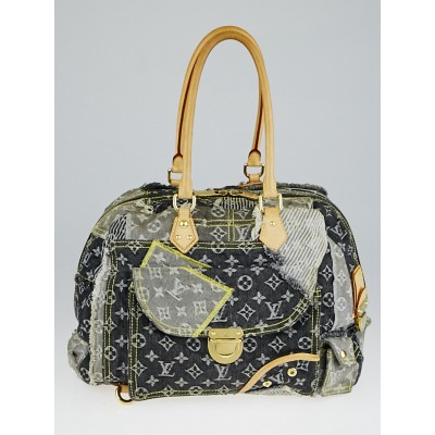 Louis Vuitton Limited Edition Grey Denim Monogram Denim Patchwork Bowly Bag