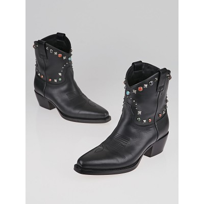 Valentino Black Leather Texan Rockstud Rolling Cowboy Ankle Boots Size 6.5/37