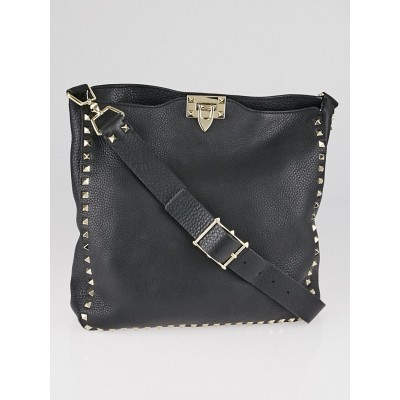 Valentino Black Leather Rockstud Flat Messenger Bag
