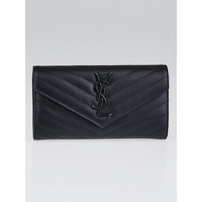 Yves Saint Laurent Black Chevron Quilted Grained Leather Metalsse Wallet