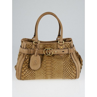 Gucci Brown Python GG Running Medium Satchel Bag
