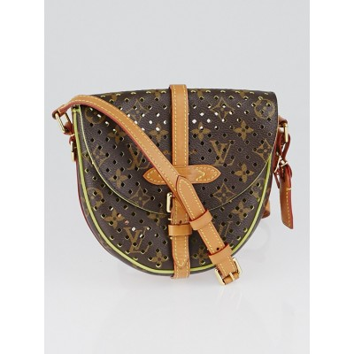 Louis Vuitton Limited Edition Green Monogram Flore Perforated Chantilly Bag
