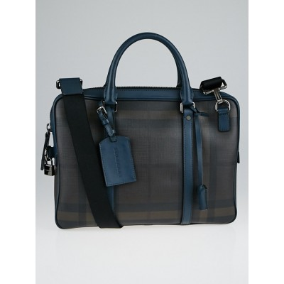 Burberry Smoked Check Coated Canvas Clinton Briefcase Bag