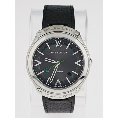 Louis Vuitton Stainless Steel and Black Leather Fifty-Five GMT Automatic Watch