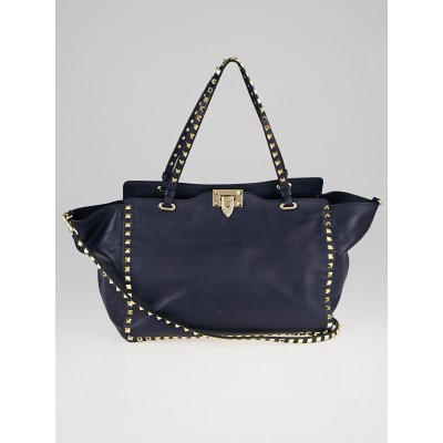 Valentino Navy Blue Leather Rockstud Trapeze Tote Bag