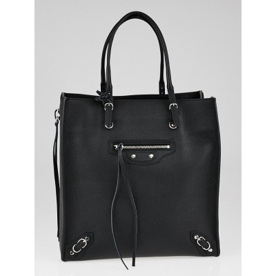 Balenciaga Black Calfskin Leather Papier A5 Zip Around Tote Bag