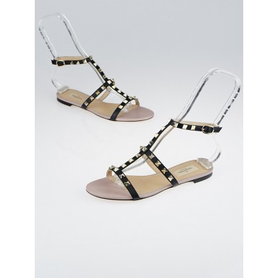 Valentino Black Leather Rockstud Ankle-Strap Flat Sandals Size 6.5/37