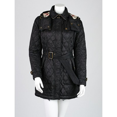 Burberry London Black Quilted Nylon Belted  Zip Coat Size M
