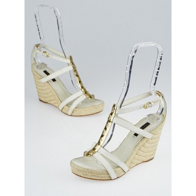 Louis Vuitton Gold Leather Monogram and Ayers Snake Wedges Size 7/37.5