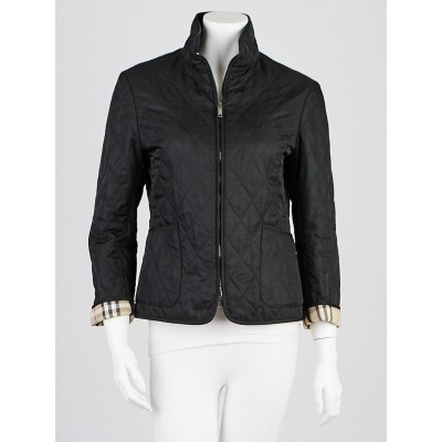 Burberry London Black Diamond Quilted Jacket Size S