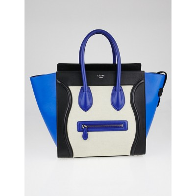 Celine Blue/Beige Smooth Calfskin Leather and Canvas Mini Luggage Tote Bag