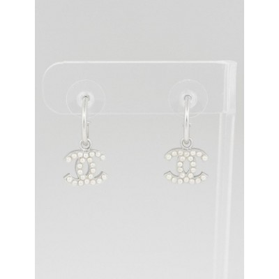 Chanel Silvertone Metal and Faux Pearl CC Drop Earrings