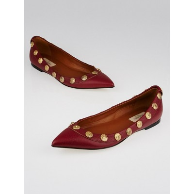 Valentino Red Leather Gryphon Studded Ballerina Flats Size 7.5/38