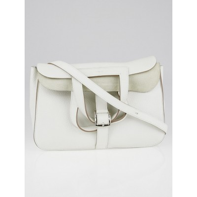 Hermes White Clemence Leather Palladium Plated Halzan Bag