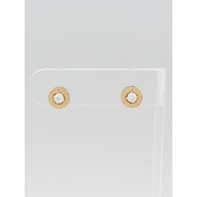 Bvlgari 18k Pink Gold and Diamond Signature Stud Earrings