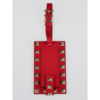 Valentino Red Leather Rockstud Luggage Tag