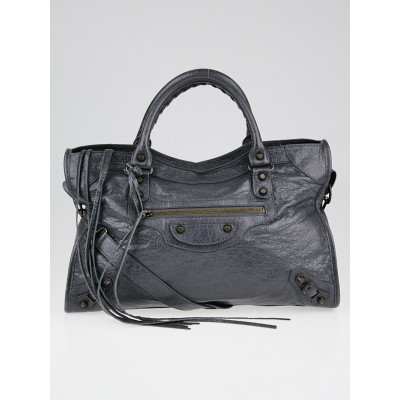 Balenciaga Gris Tarmac Lambskin Leather Motorcycle City Bag