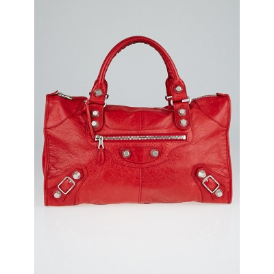 Balenciaga Coquelicot Lambskin Leather Giant 21 Silver Work Bag