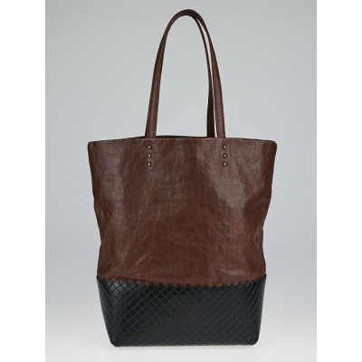 Bottega Veneta Burgundy Coated Linen Small Scolpito Tote Bag