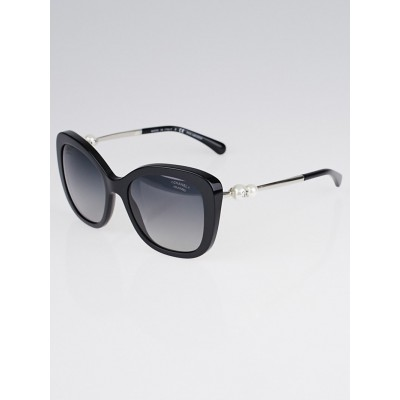 Chanel Black Acetate Oversized Frame Pearl CC Sunglasses-5339-H
