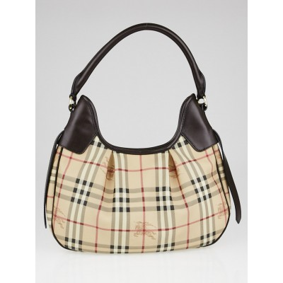 Burberry Chocolate Leather Haymarket Check Coated Canvas Hobo Bag