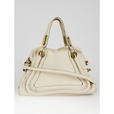Chloe Beige Pebbled Leather Medium Paraty Bag